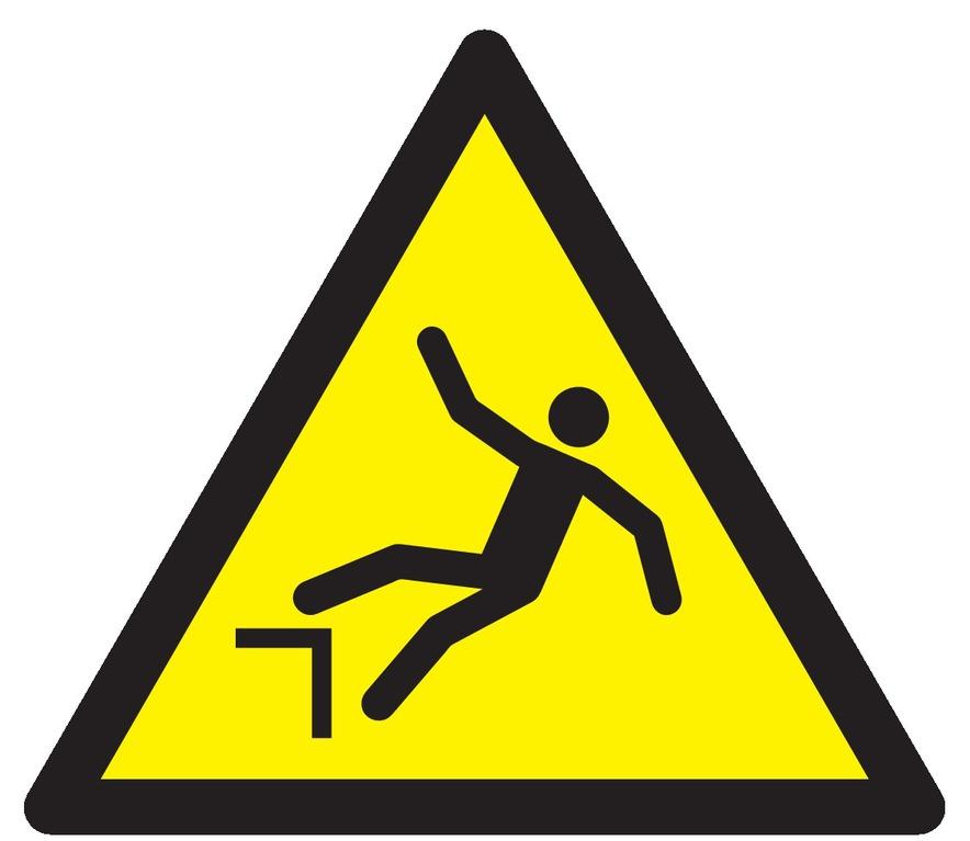 Danger, chute avec dénivellation