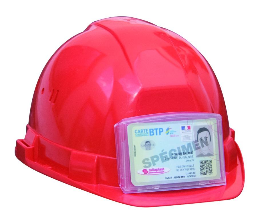 Porte badge adhésif pour casque de chantier