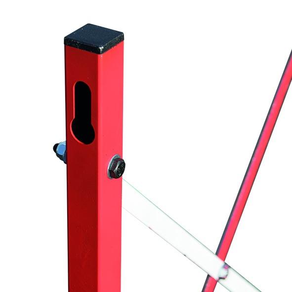 Barrière de chantier rouge et blanche extensible