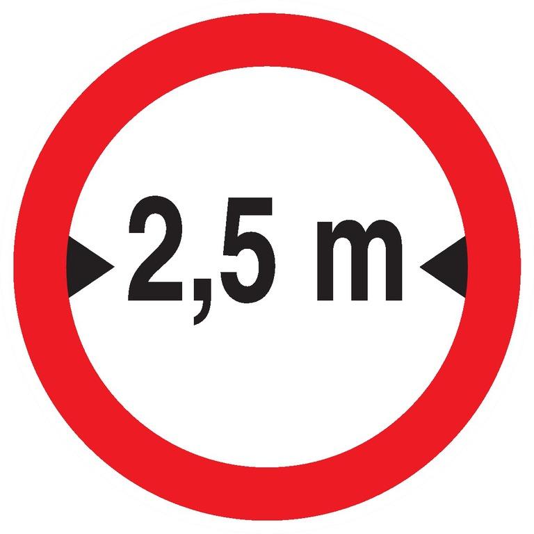 Interdit auxvéhicules deplus de2,5m delarge