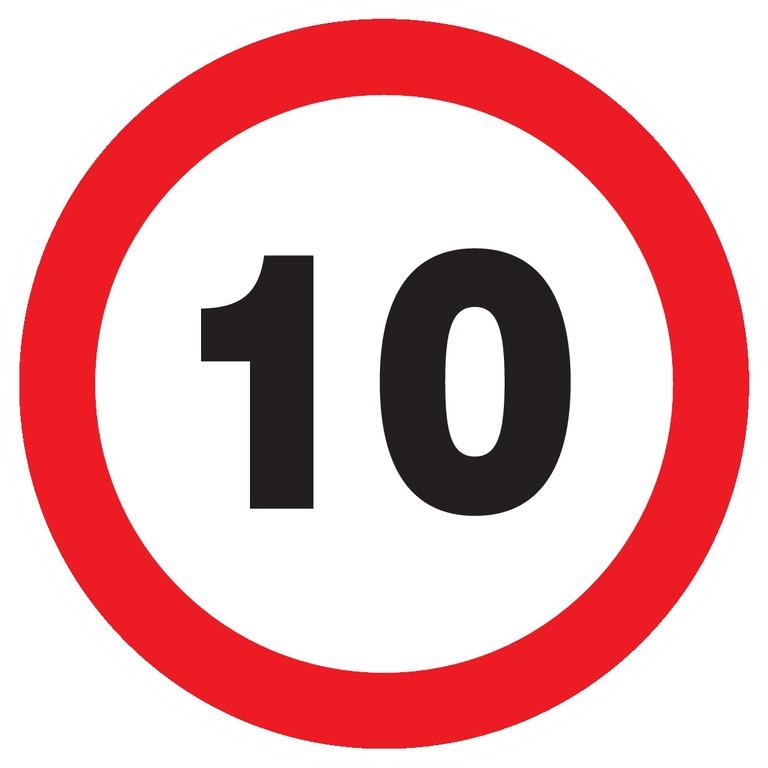 Interdit derouler àplus de10km/h