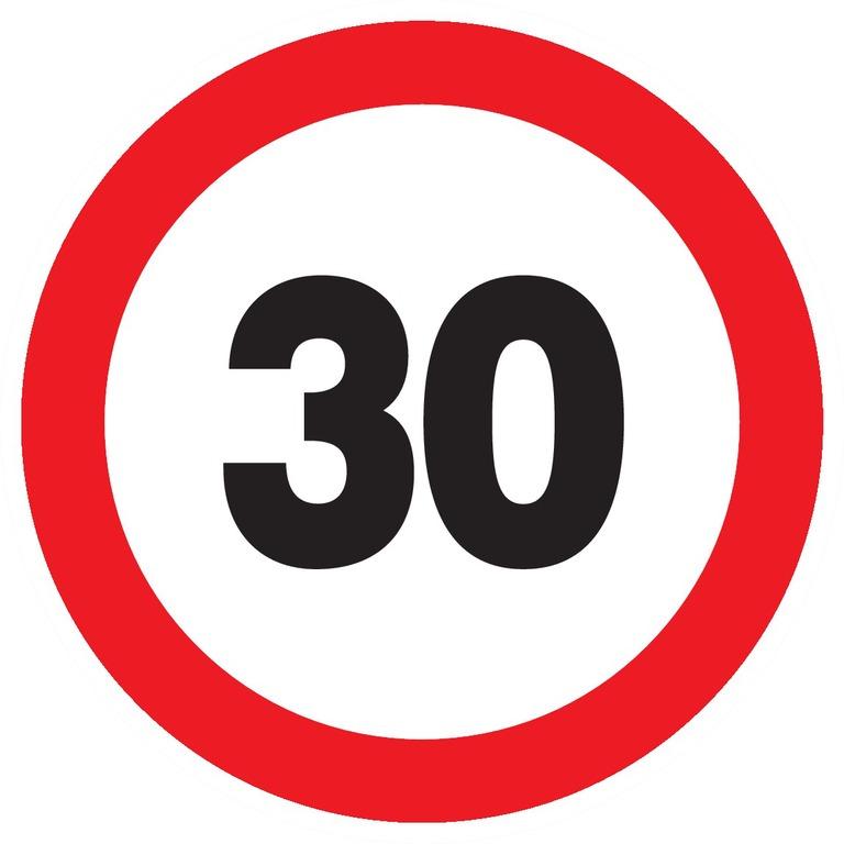 Interdit derouler àplus de30km/h