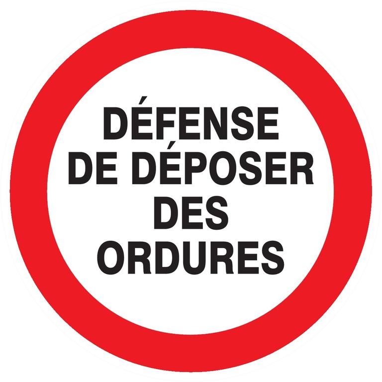Défense dedéposer desordures