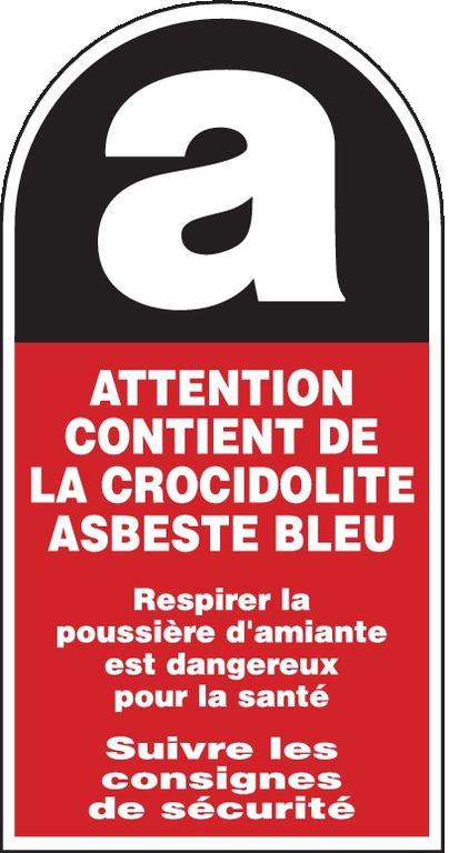 Attention contient dela crocidolite