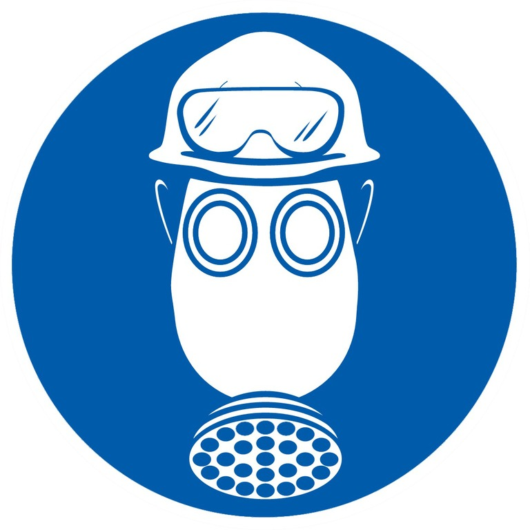 Protection obligatoire tête / vue / voies respiratoires contre l'acide