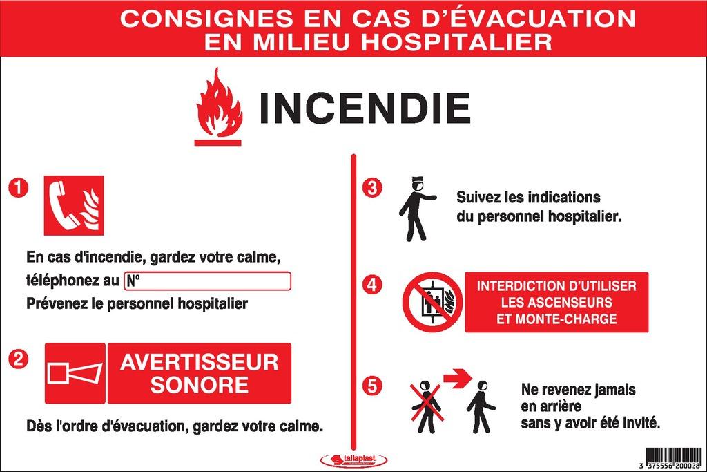 Consignes Incendie encasd'évacuation enmilieu hospitalier