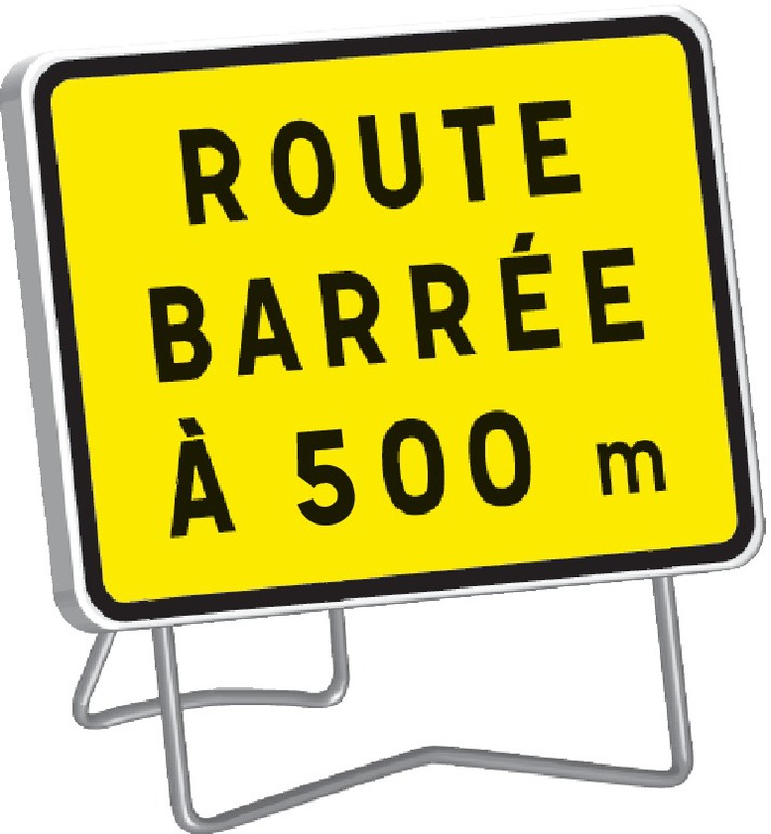 KC1 Route barrée à 500 m