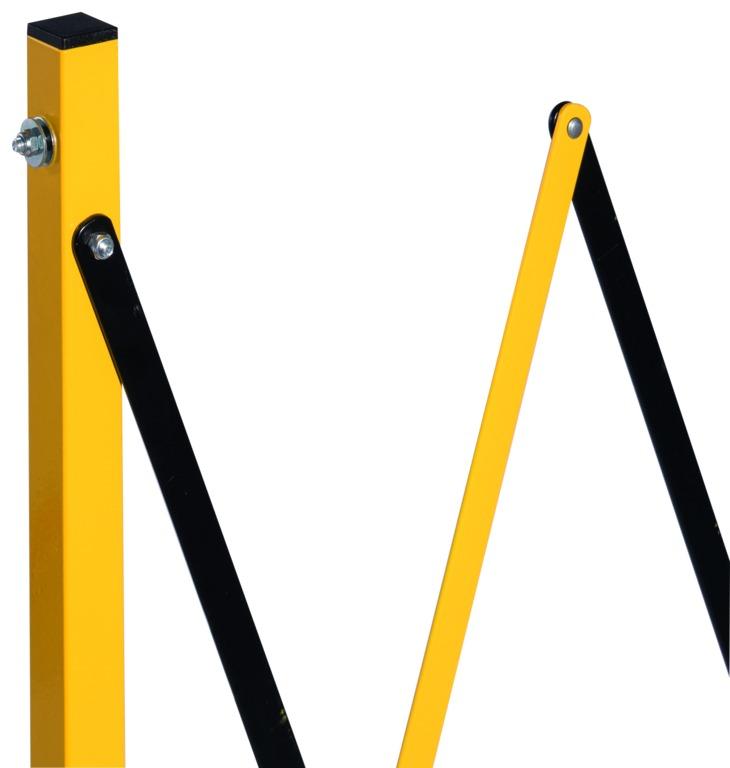 Barrière de chantier jaune et noir extensible