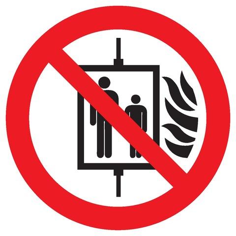 Interdiction d'utiliser l'ascenseur encasd'incendie