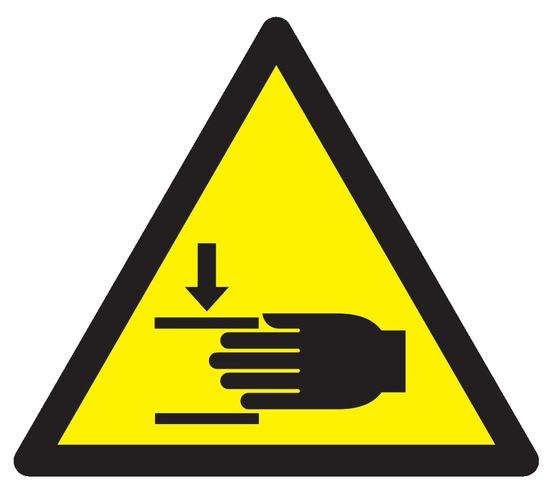 Danger, écrasement desmains