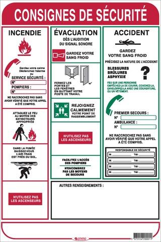 Consignes desécurité incendie, évacuation, accident
