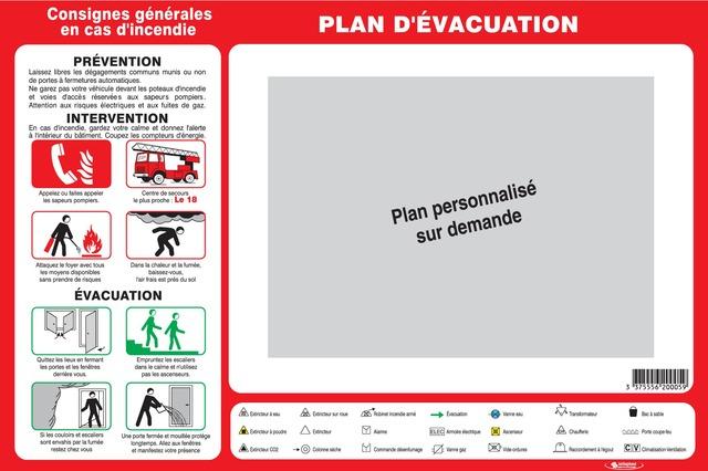 Consignes générales encasd'incendie (sans plan d'évacuation  personnalisé)