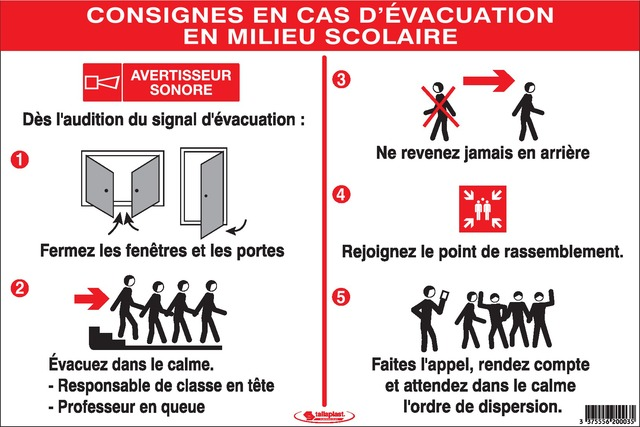 Consignes Incendie encasd'évacuation enmilieu scolaire