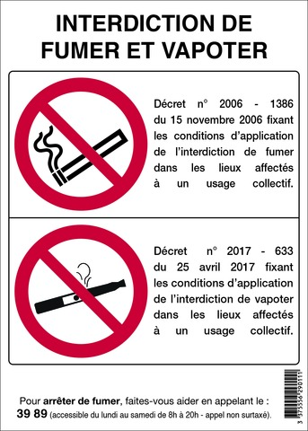 Interdiction de fumer et vapoter
